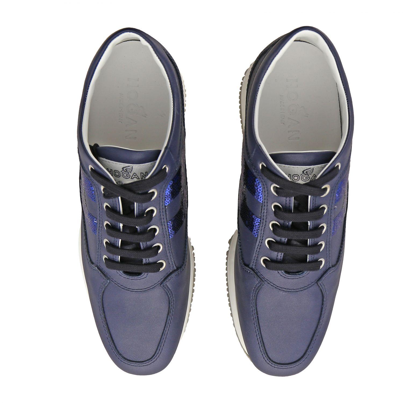 Sneakers Interactive Hogan in pelle con H di paillettes blue 3