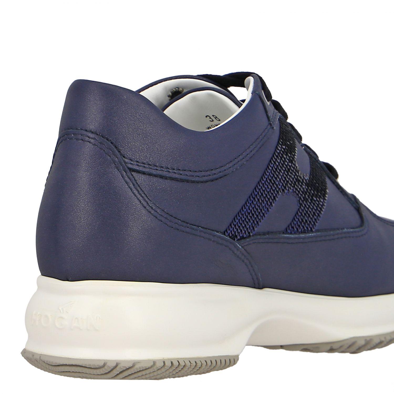 Sneakers Interactive Hogan in pelle con H di paillettes blue 5