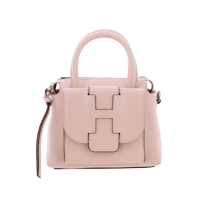 Hogan leather bag with external pocket and logo pink 1