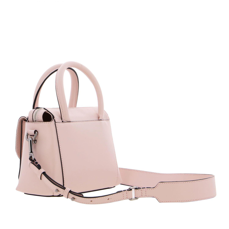 Hogan leather bag with external pocket and logo pink 3