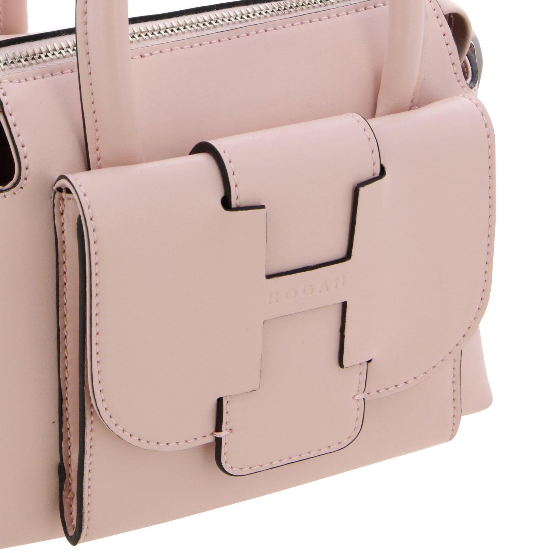 Hogan leather bag with external pocket and logo pink 4
