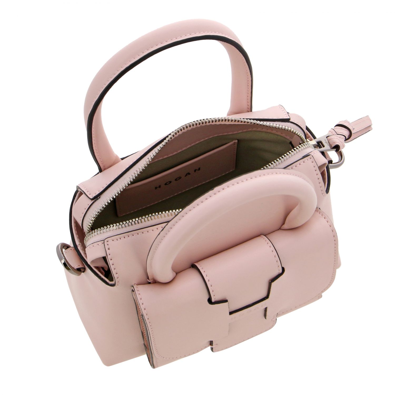Hogan leather bag with external pocket and logo pink 5