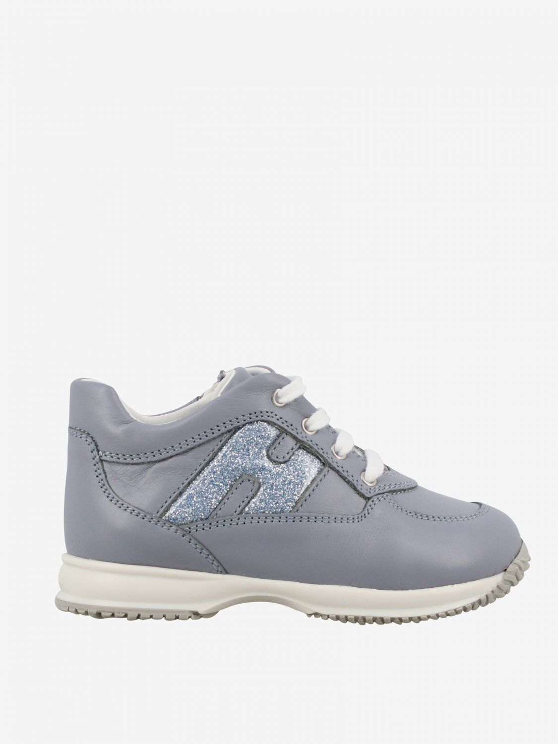 Interactive Hogan Baby sneakers in leather with rounded glitter H gnawed blue 1