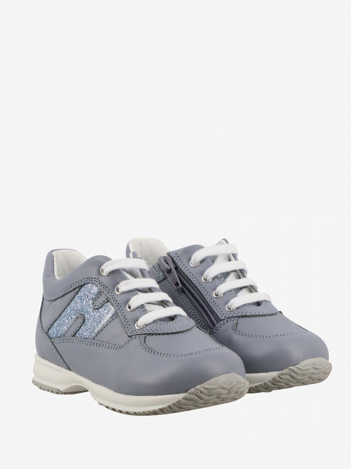 Interactive Hogan Baby sneakers in leather with rounded glitter H gnawed blue 2