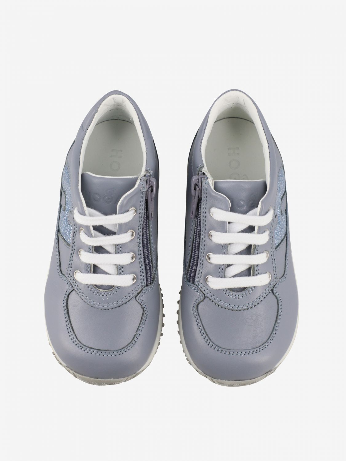 Interactive Hogan Baby sneakers in leather with rounded glitter H gnawed blue 3