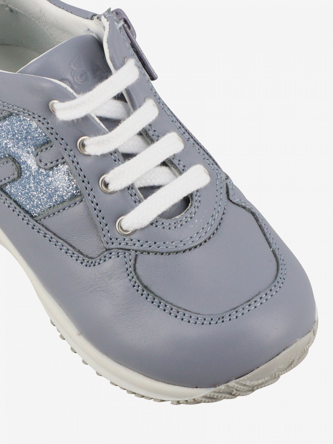 Interactive Hogan Baby sneakers in leather with rounded glitter H gnawed blue 4