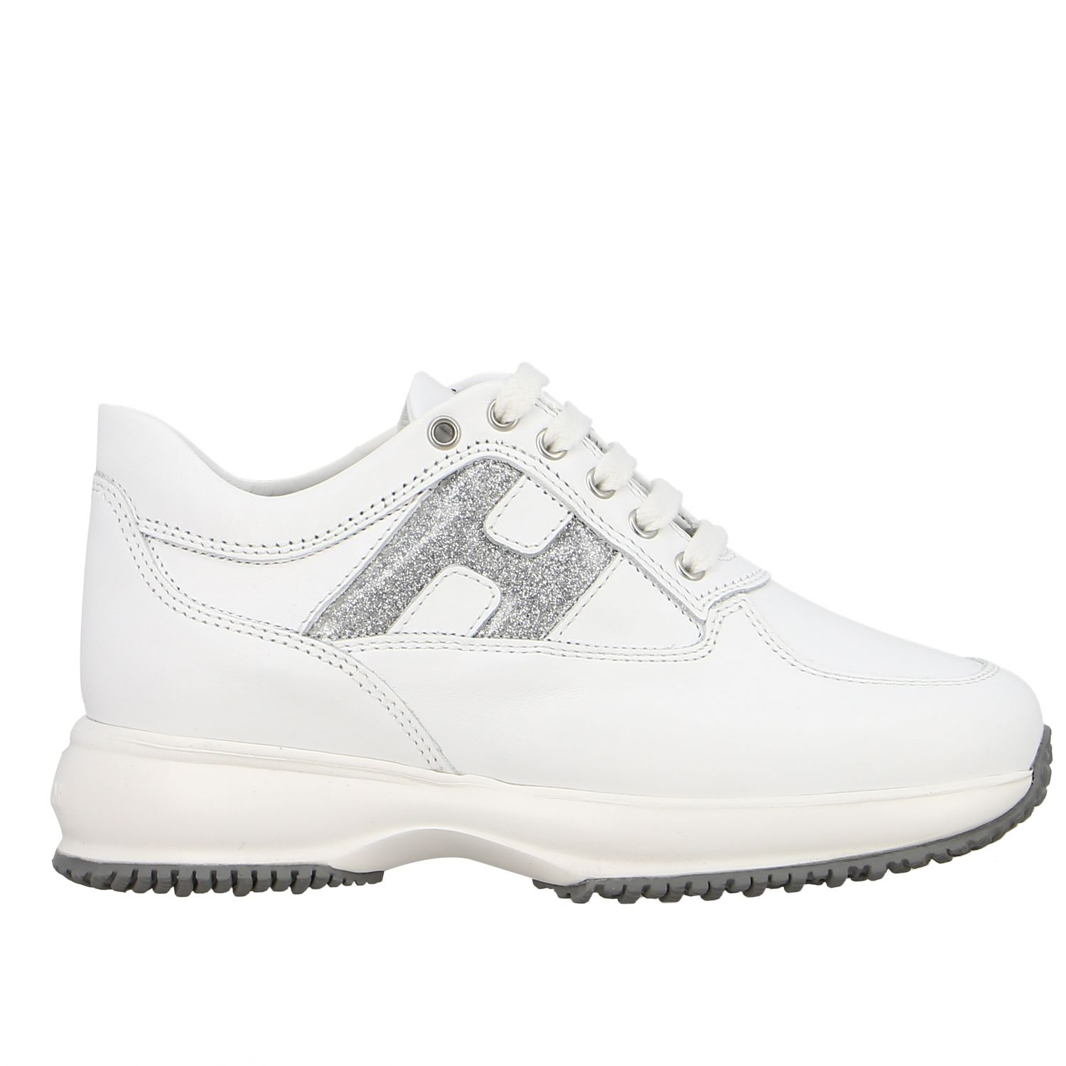 Interactive Hogan sneakers in leather with rounded H glitter white 1