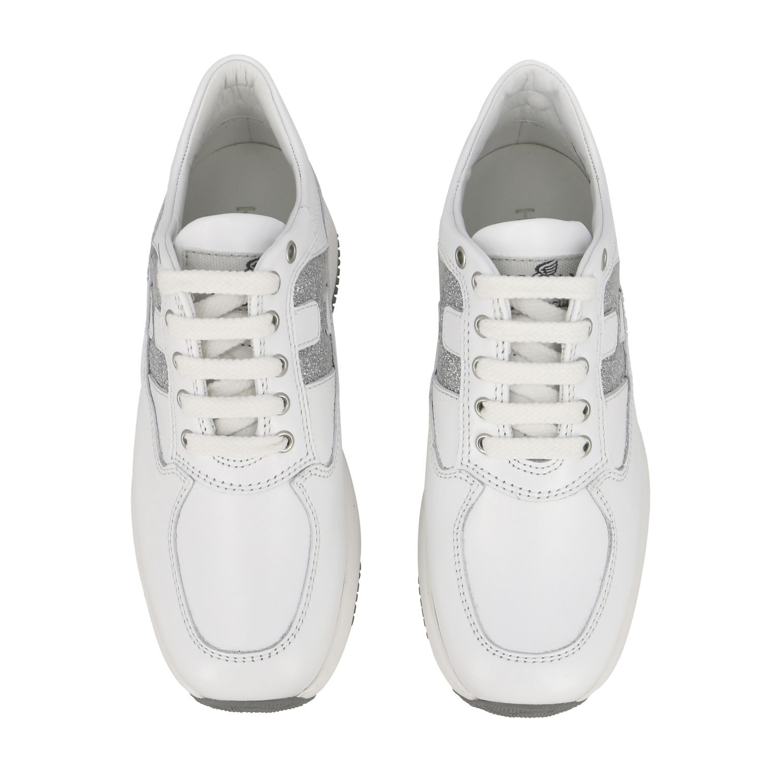 Interactive Hogan sneakers in leather with rounded H glitter white 3