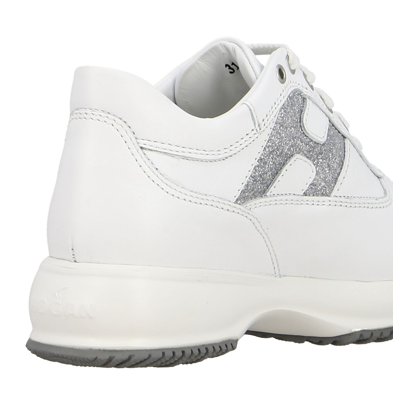 Interactive Hogan sneakers in leather with rounded H glitter white 5