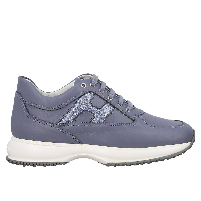 Hogan Interactive 亮片填充H装饰真皮运动鞋 浅蓝色 1