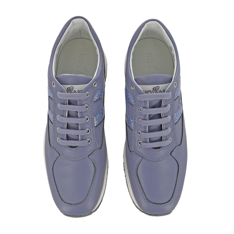Hogan Interactive 亮片填充H装饰真皮运动鞋 浅蓝色 3