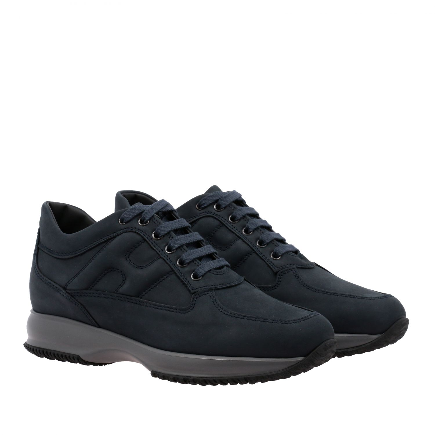 Sneakers Interactive Hogan in nabuk con H bombata blue 2