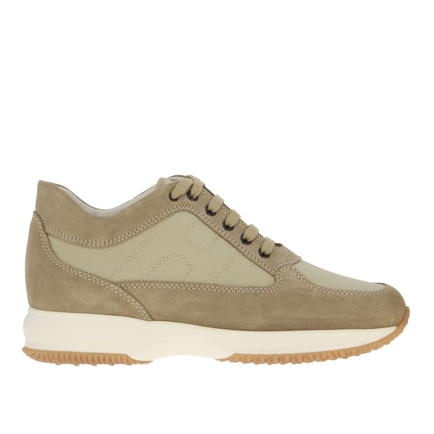 Interactive Hogan sneakers in suede and mesh with rounded H beige 1