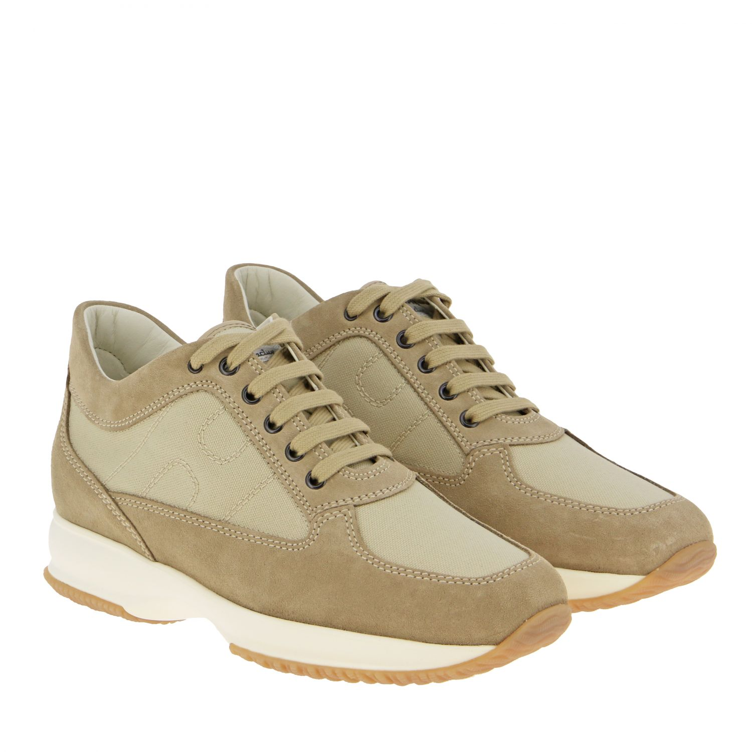 Interactive Hogan sneakers in suede and mesh with rounded H beige 2
