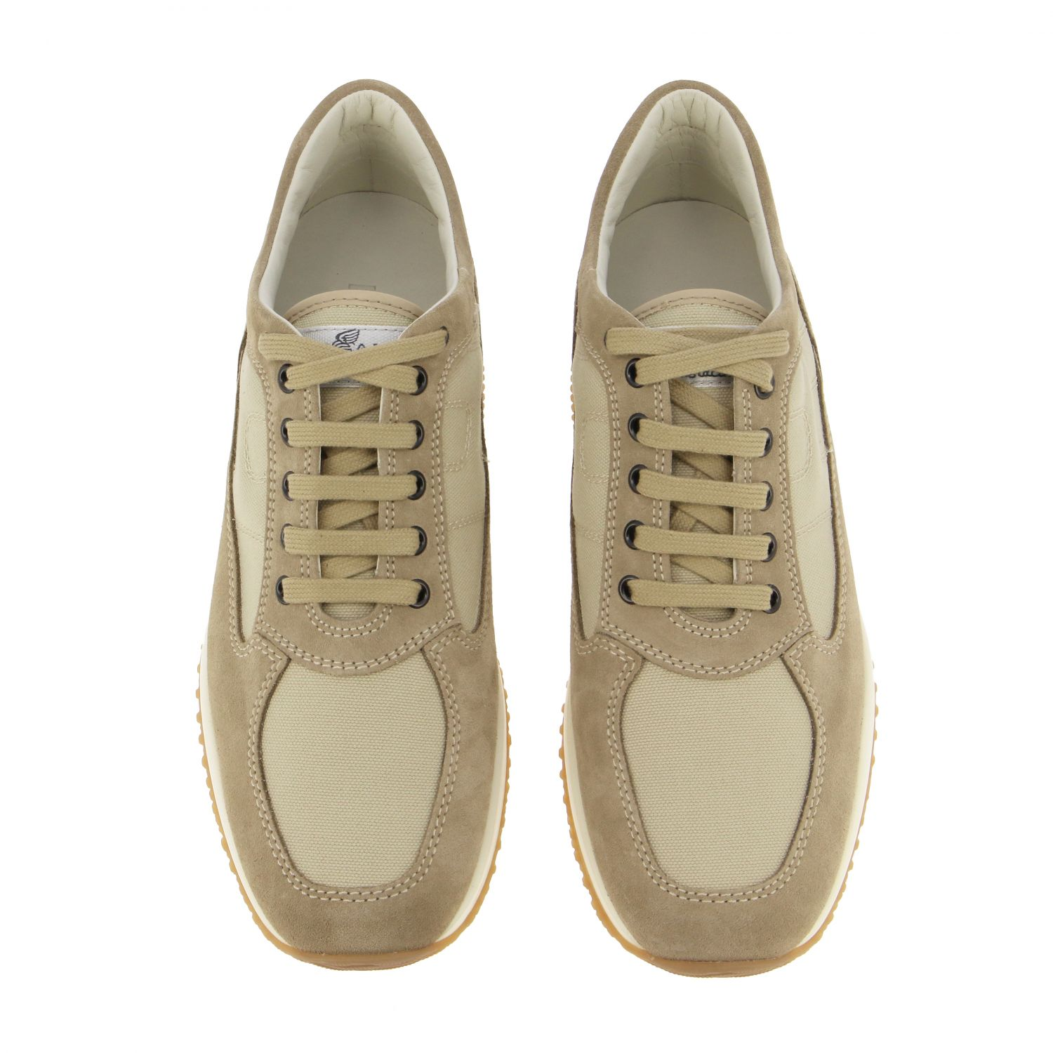 Interactive Hogan sneakers in suede and mesh with rounded H beige 3