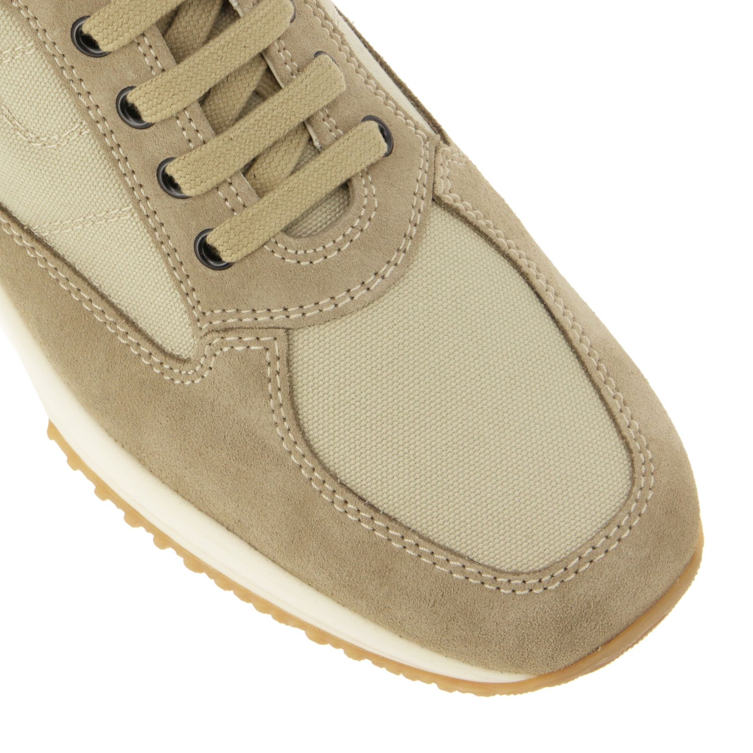Interactive Hogan sneakers in suede and mesh with rounded H beige 4