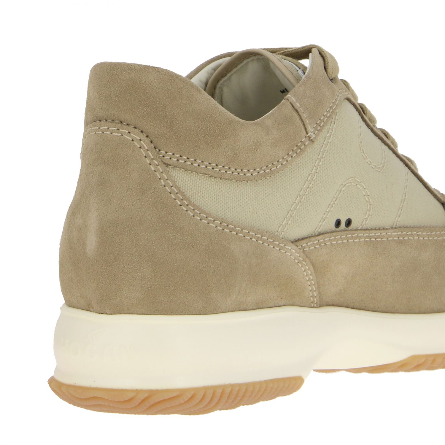 Interactive Hogan sneakers in suede and mesh with rounded H beige 5