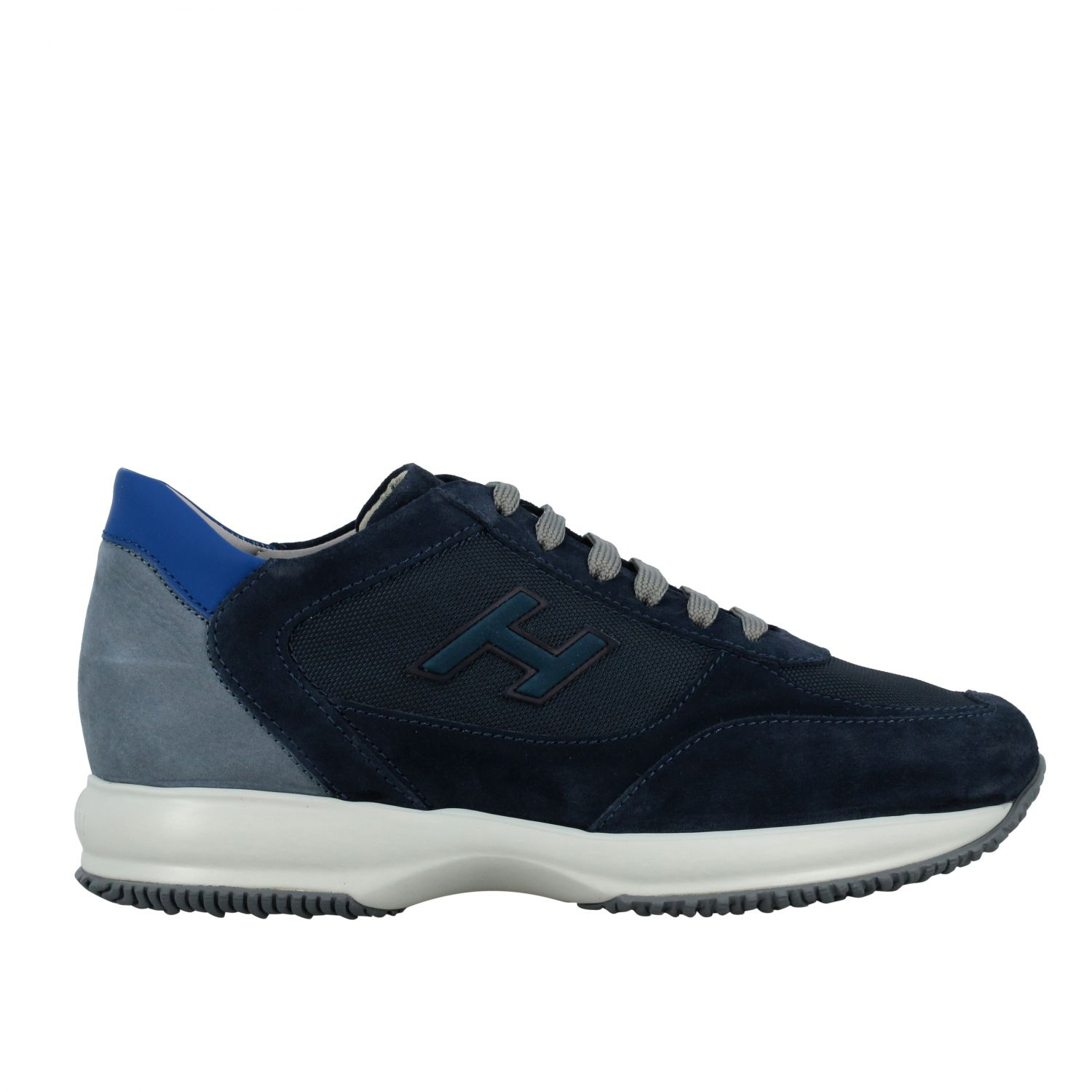 Sneakers Hogan: New interactive Hogan sneakers in suede and mesh with flock H blue 1