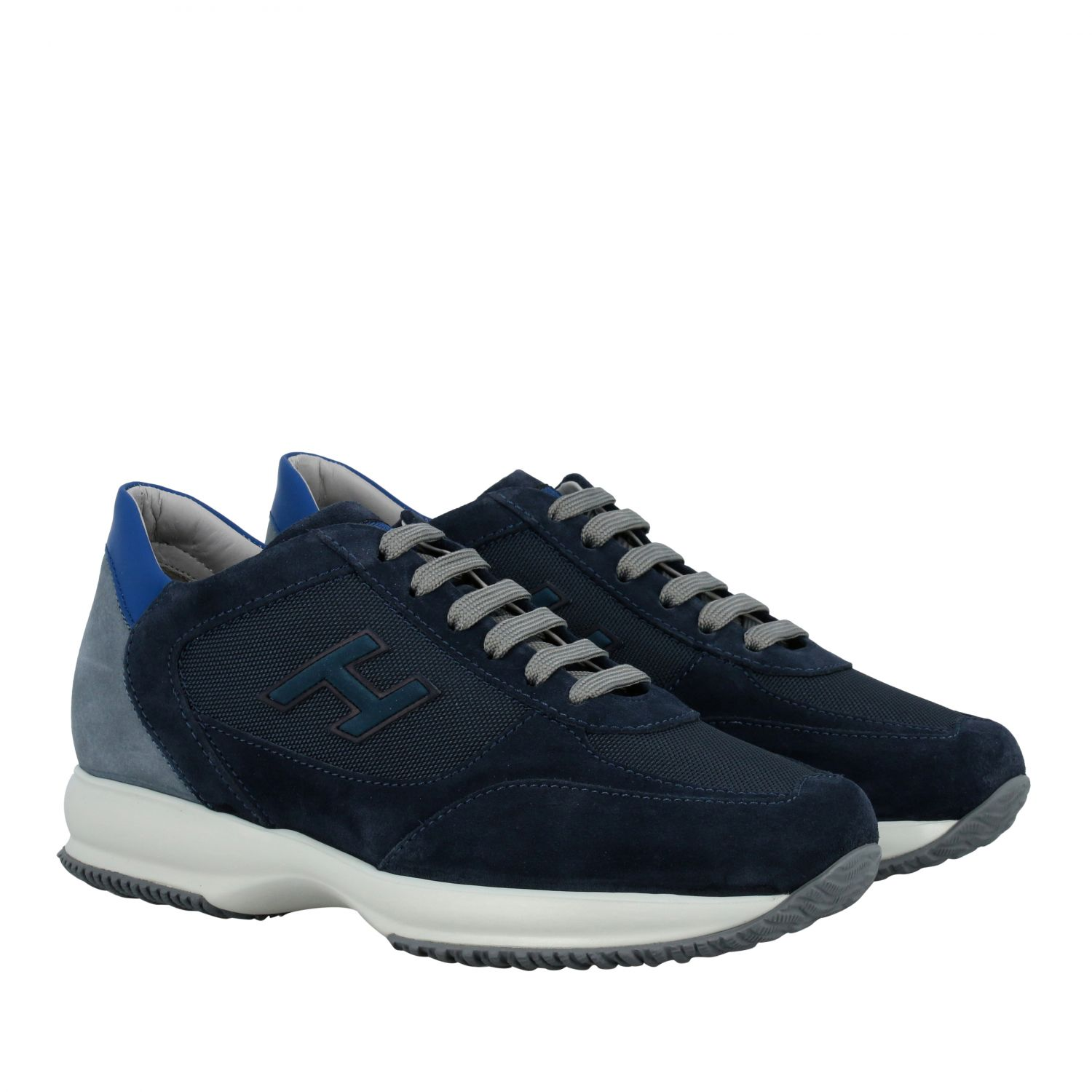 Sneakers Hogan: New interactive Hogan sneakers in suede and mesh with flock H blue 2