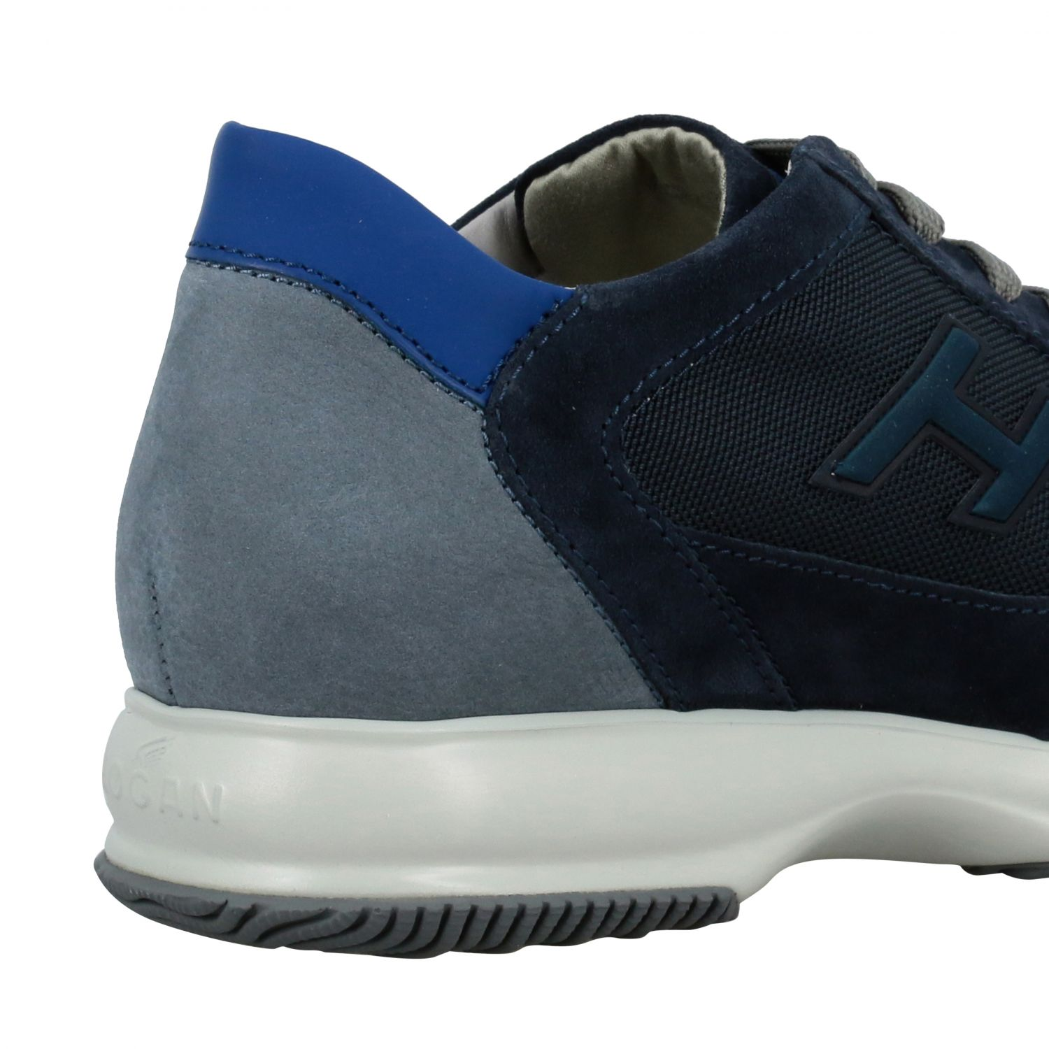Sneakers Hogan: New interactive Hogan sneakers in suede and mesh with flock H blue 5