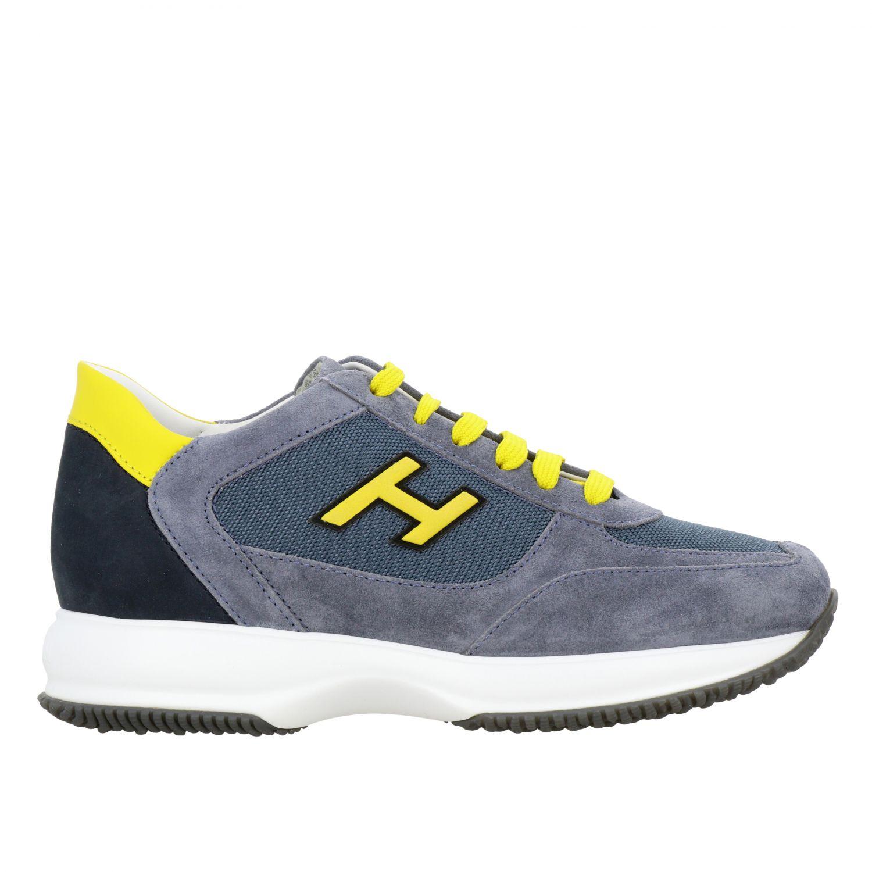 Sneakers New interactive Hogan in camoscio e rete con h flock grigio 1 1