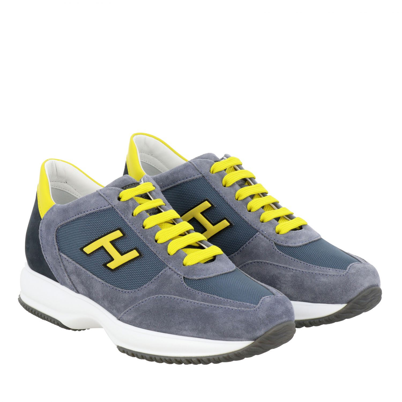 Sneakers New interactive Hogan in camoscio e rete con h flock grigio 1 2