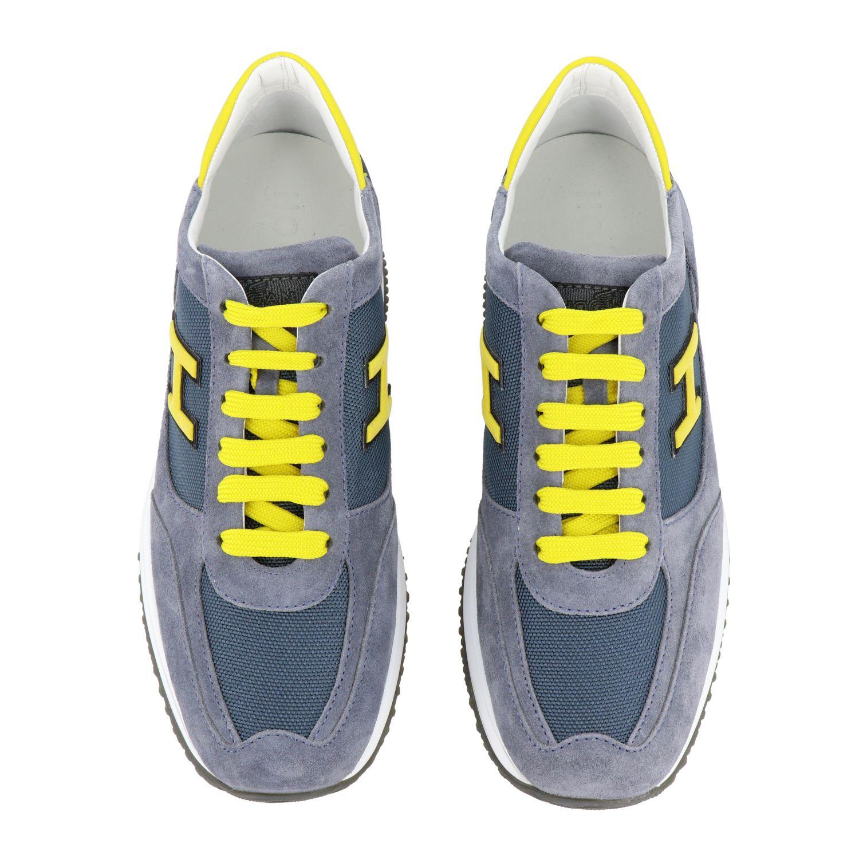 Sneakers New interactive Hogan in camoscio e rete con h flock grigio 1 3