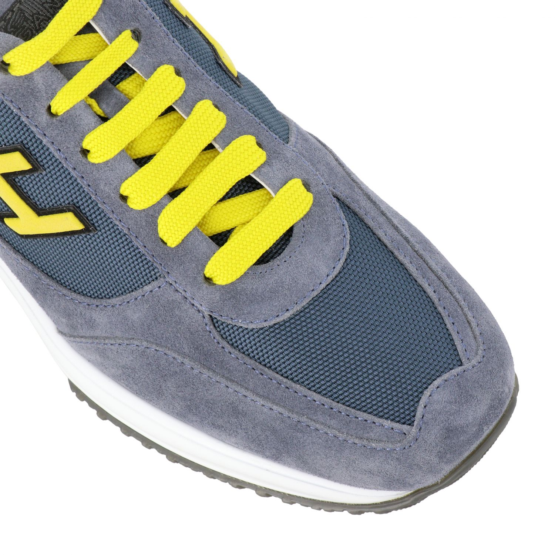 Sneakers New interactive Hogan in camoscio e rete con h flock grigio 1 4