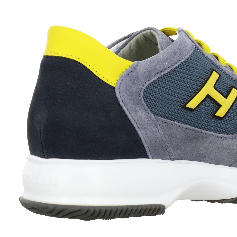 Sneakers New interactive Hogan in camoscio e rete con h flock grigio 1 5