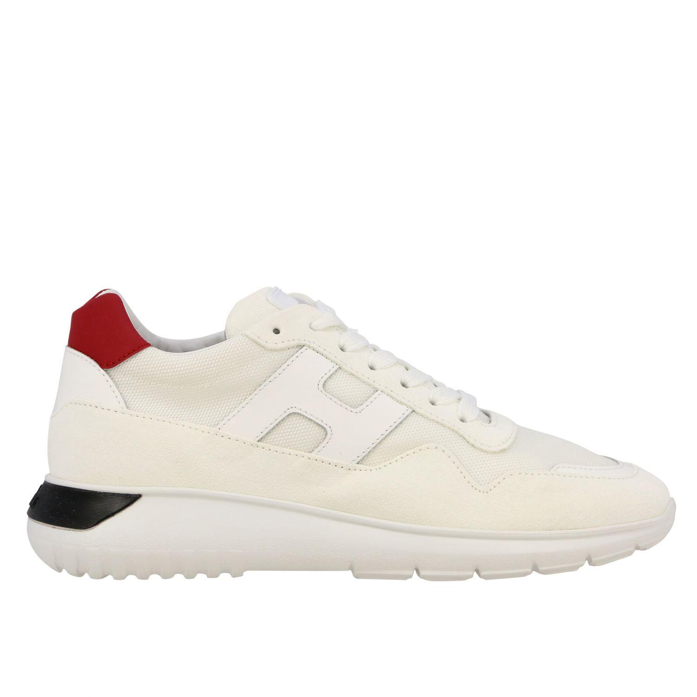 Sneakers Interactive3 Hogan in camoscio e tela con H bianco 1