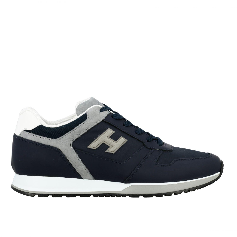 Sneakers 321 running Hogan in nylon e pelle con h flock blue 1