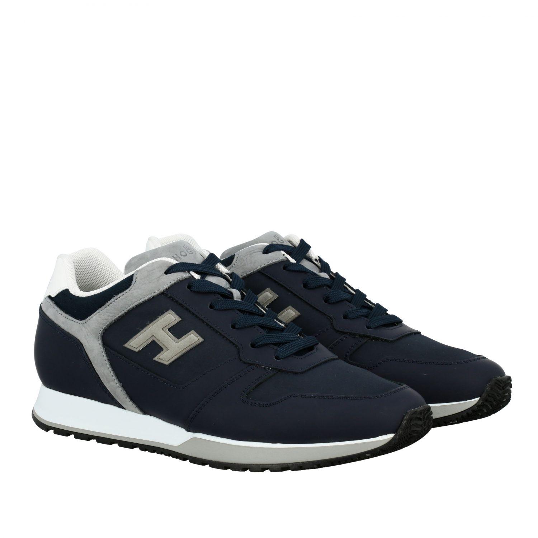 Sneakers 321 running Hogan in nylon e pelle con h flock blue 2