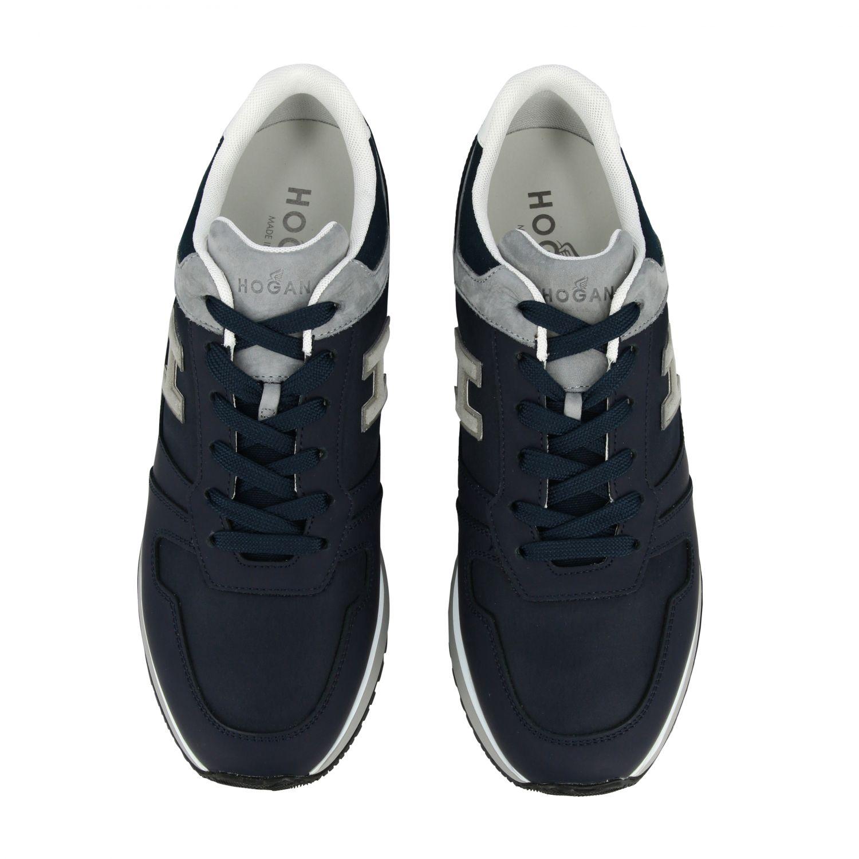 Sneakers 321 running Hogan in nylon e pelle con h flock blue 3