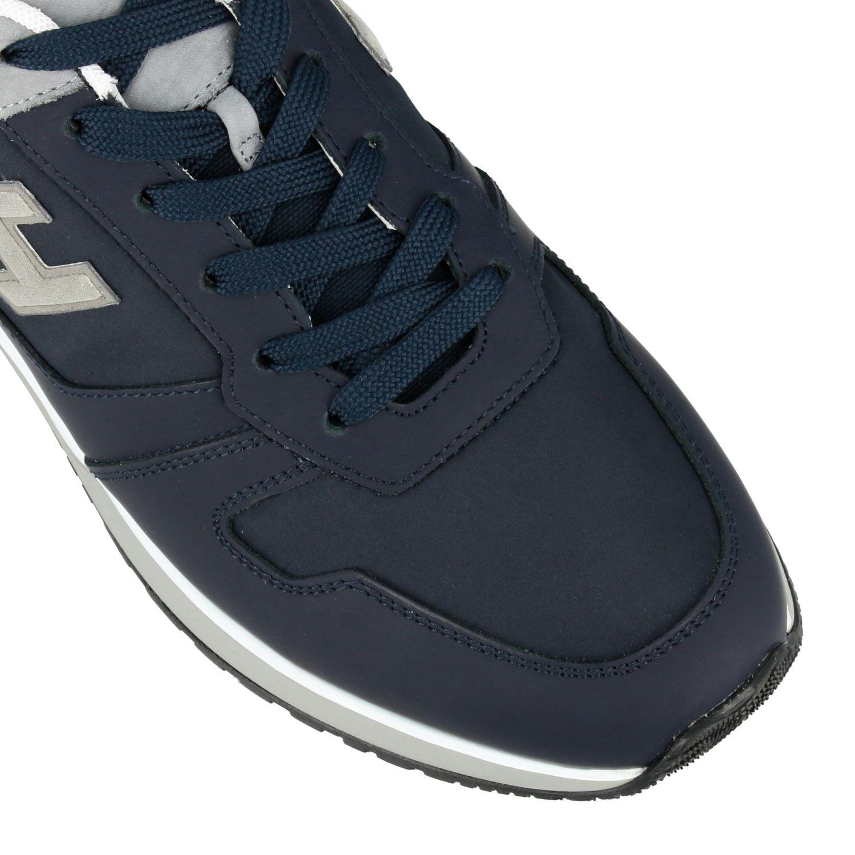 Sneakers 321 running Hogan in nylon e pelle con h flock blue 4