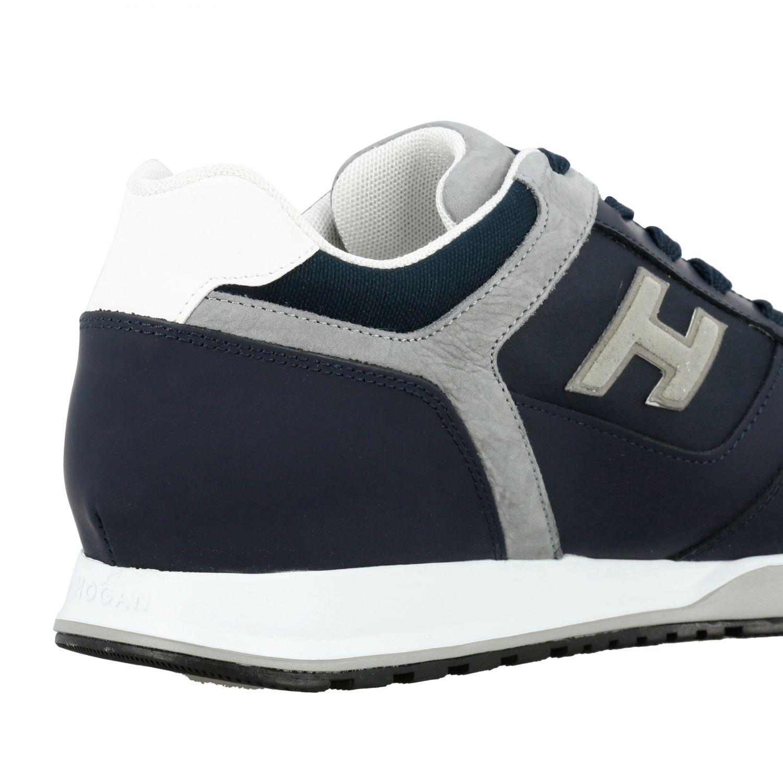 Sneakers 321 running Hogan in nylon e pelle con h flock blue 5