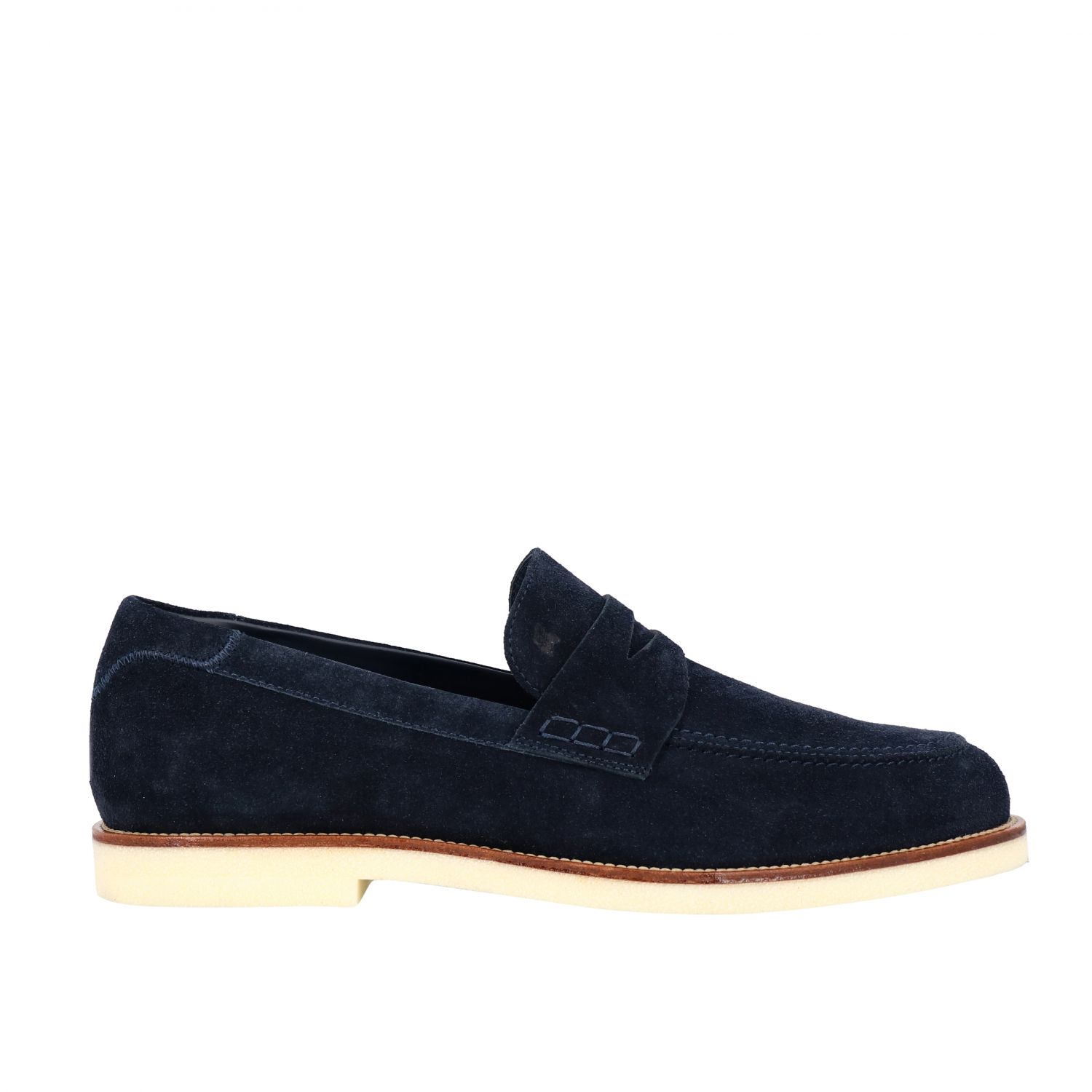 Business Casual Hogan suede loafer with brogue motif blue 1