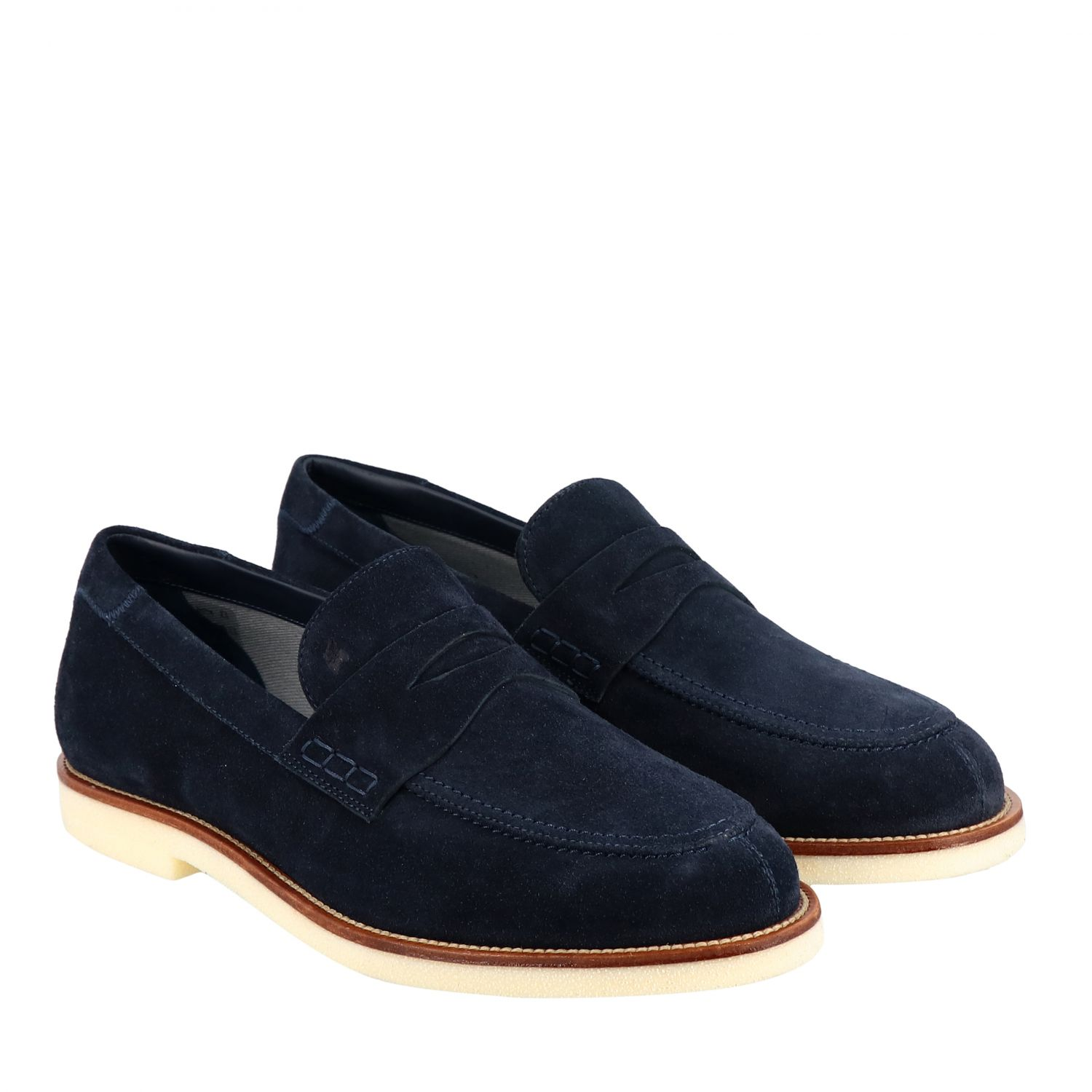 Business Casual Hogan suede loafer with brogue motif blue 2