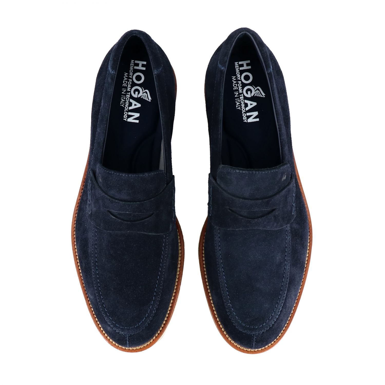 Business Casual Hogan suede loafer with brogue motif blue 3