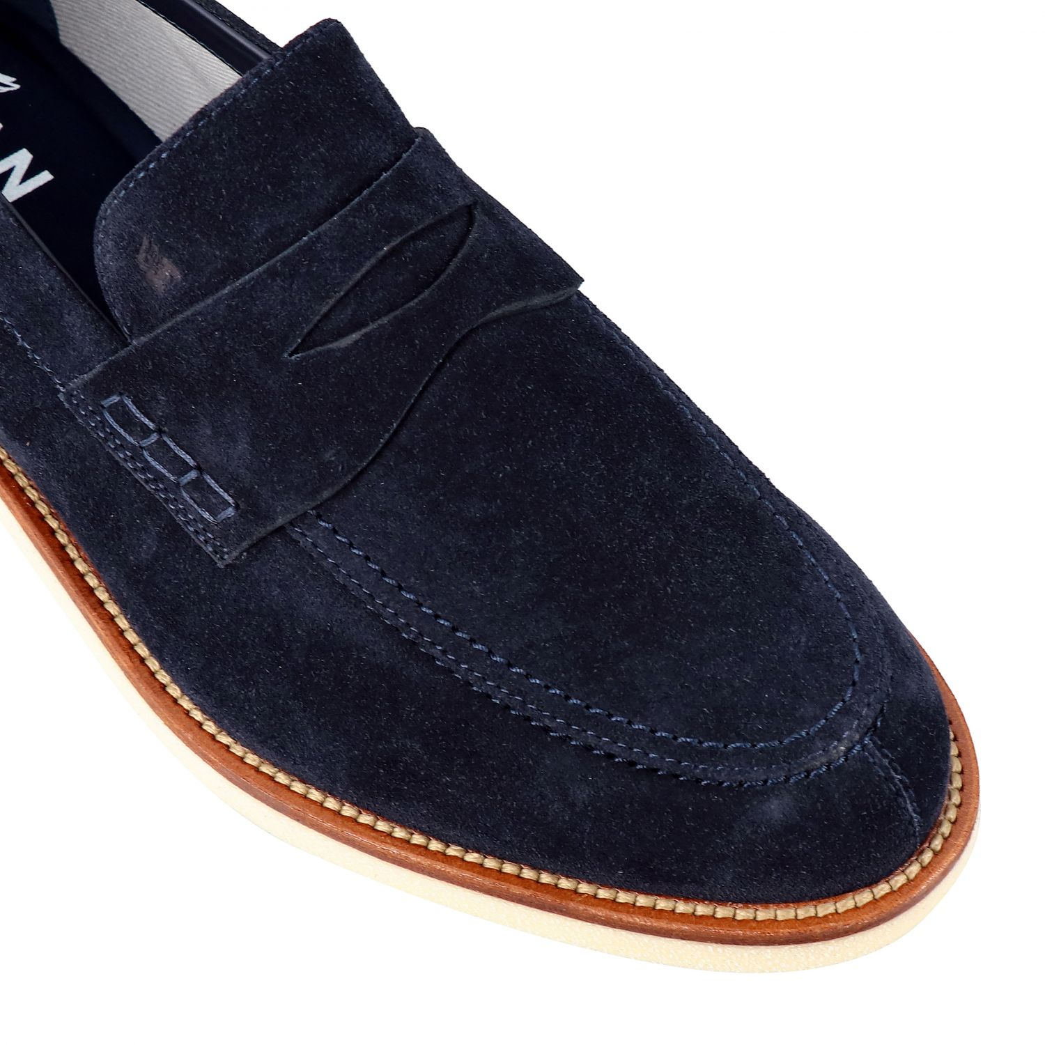 Business Casual Hogan suede loafer with brogue motif blue 4