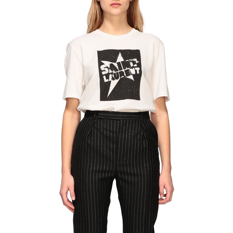 T-shirt Saint Laurent a girocollo con stampa bianco 1