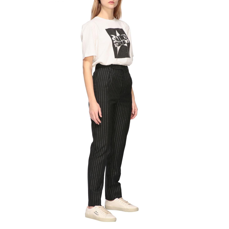 T-shirt Saint Laurent a girocollo con stampa bianco 2