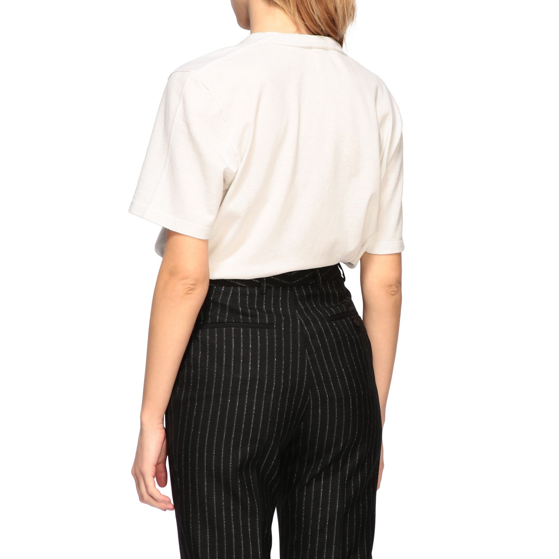 T-shirt Saint Laurent a girocollo con stampa bianco 3