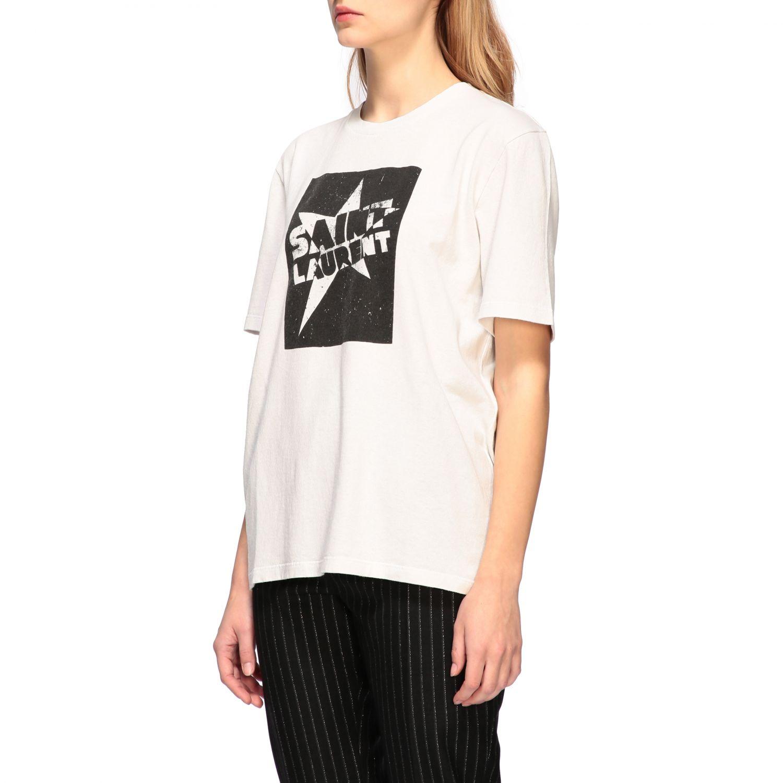 T-shirt Saint Laurent a girocollo con stampa bianco 4