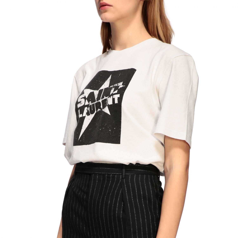 T-shirt Saint Laurent a girocollo con stampa bianco 5