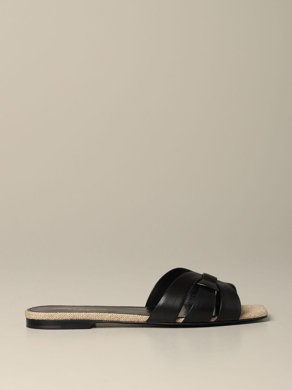 Sandale plate en cuir Tribute Saint Laurent noir 1