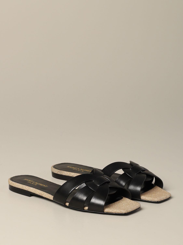Sandale plate en cuir Tribute Saint Laurent noir 2