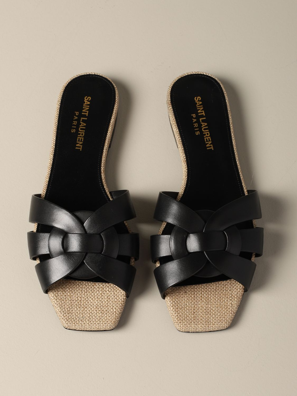 Sandale plate en cuir Tribute Saint Laurent noir 3