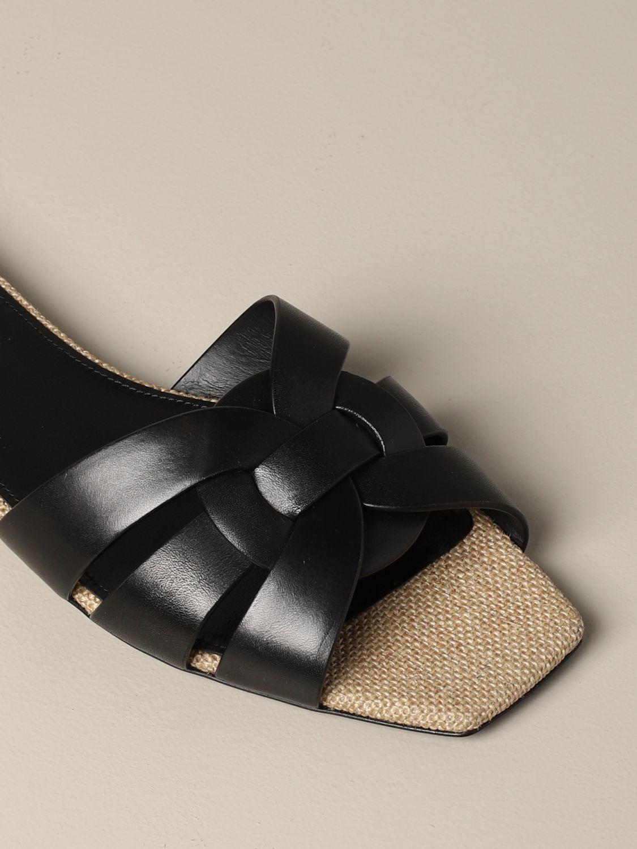 Sandale plate en cuir Tribute Saint Laurent noir 4