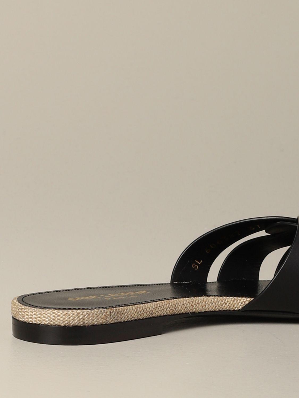 Sandale plate en cuir Tribute Saint Laurent noir 5