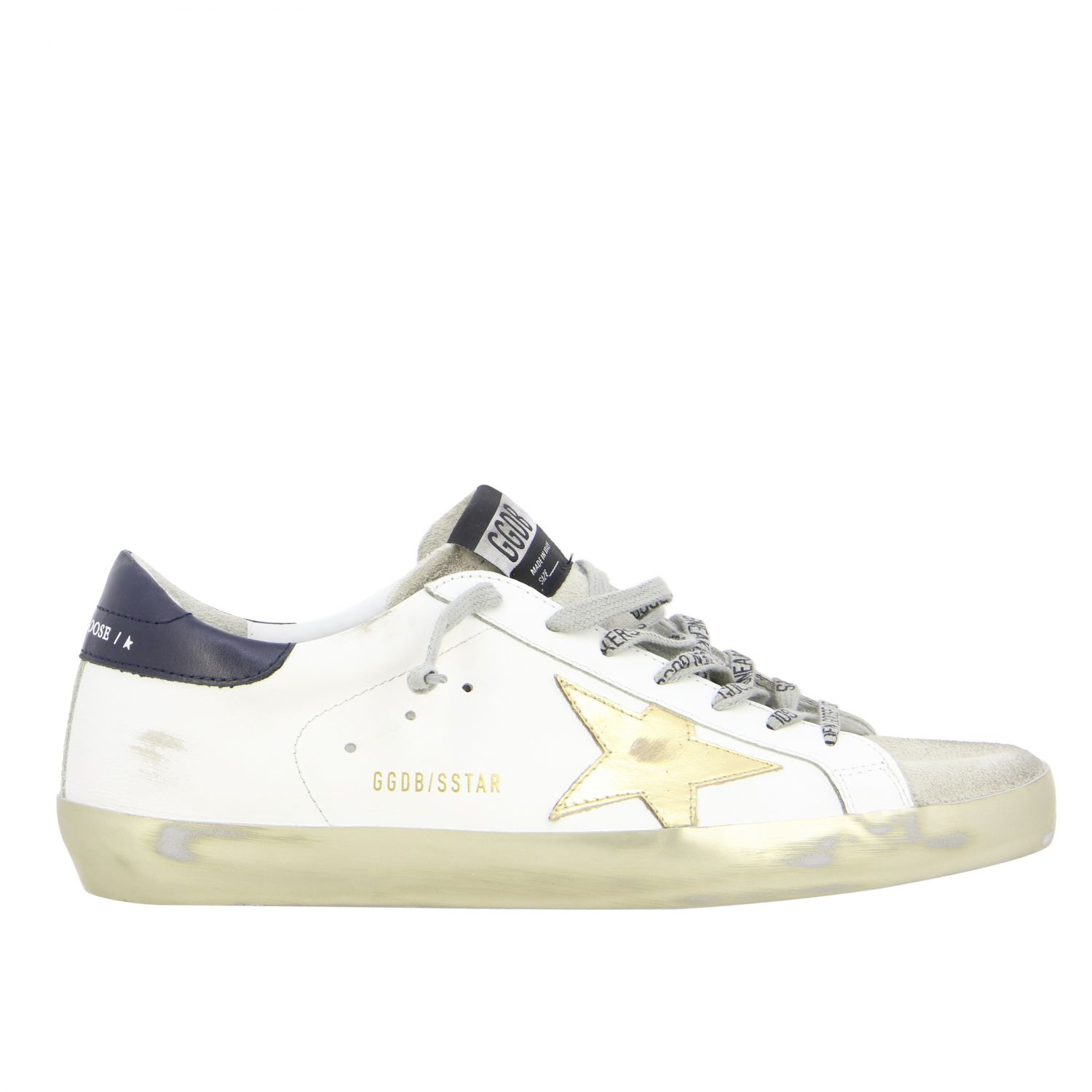 Sneakers Superstar Golden Goose in pelle con stella laminata bianco 1